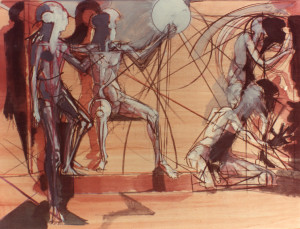 La Ragione fulmina l'Ignoranza e la Superstizione 1987 olio su legno 60x80cm