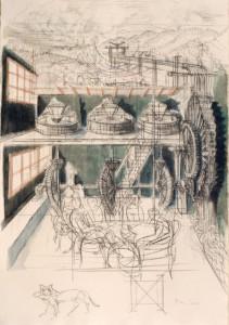 Il Mulino dell'Encyclopédie 1988 carb acquar su carta