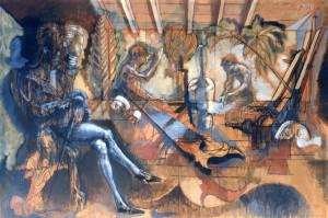 Robespierre dal falegname 1986 olio su tavola 69 x 103