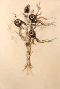 Albero della libertà 1987 acquarello su carta 44 x 30 cm