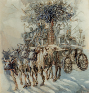 Il carro della Festa 1987 olio su tela 204x200 cm