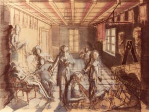 Gli amici di casa Duplay 1987 olio su legno 60x80 cm