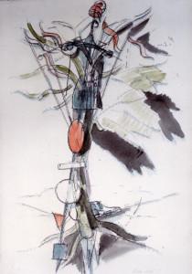 Albero con manichino 1987 acquarello su carta 44x30 cm