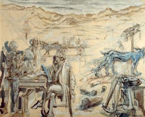 l'Accademia dei pugni 1988 olio su tavola 80 x 100 cm