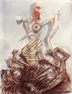 La fine di Venezia 1989 temera su carta 50x60 cm