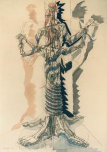 Progetto per Albero della Libertà ante danzante 1989 carb e acquar su carta 100 x 70 cm