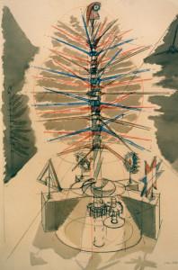 Progetto per Albero della Libertà 1989 tempera e pastello su carta 100x70 cm