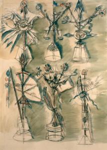 Progetti per Albero della Libertà 1989 acquarello su carta 70 x 50 cm