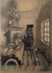 Robespierre ferito 1986 pastello su cartone 103 x 73 cm