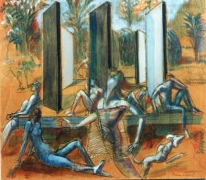 Teatro al Parco, 1983, olio su tavola, 66x73 cm