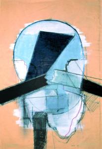 Testa, 1968, tecnica mista su carta