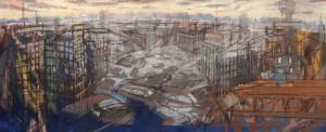 Milano, 1991, carbone e tempera su tela, 43 x 100 cm