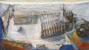 Piazza Duomo, 1991, olio su tela, 45x80 cm