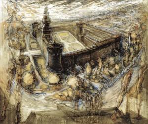 Castello Sforzesco, 1993, tempera su tela, 120x140 cm