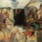 16. Discussione degli intellettuali, 1961, olio su tela, 115x158 cm