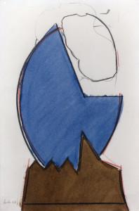 Faccia blu, 1968, carbone e inchiostro su carta, 52x34 cm