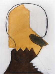 Faccia gialla, 1968, carbone e inchiostro su carta, 50x38 cm