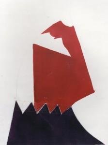 Faccia rossa, 1969, carbone e inchiostro su carta, 50x38 cm