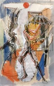 Ombrello, 1993, tecnica mista su tela, 60x40 cm