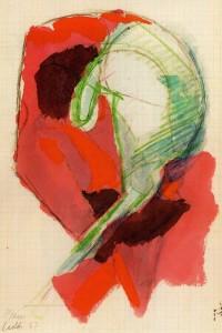 Corazza facciale, 1967, acquarello su carta, 28x19 cm