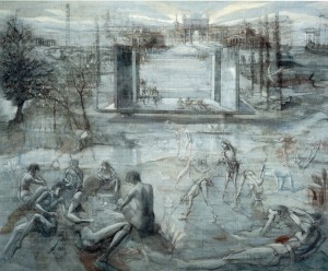 Parco Sempione, 1985, tecnica mista su tela, 165x204 cm