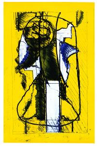 Testa n. 4 (tensione), 1969, acquaforte acquatinta a colori, 49x32 cm