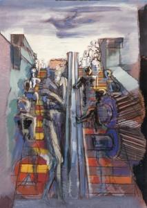 Scala mobile, 1993, tecnica mista su cartone, 46x56 cm