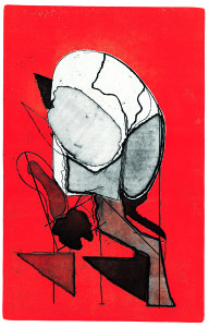 Testa n. 6 (caricata), 1969, aquaforte acquatinta a colori, 49x32 cm