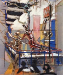 Uscita della metro, 1993, tecnica mista su tela, 60x50 cm