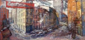 Via Pantano, s.d., olio e tempera su tela, 45x95 cm