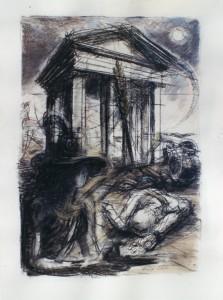 Cinque Giornate, 1999, carbone e acqurello su carta, 61x45 cm