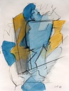 Ombra gialla, 1969, matita e acquarello su carta, 28x21 cm