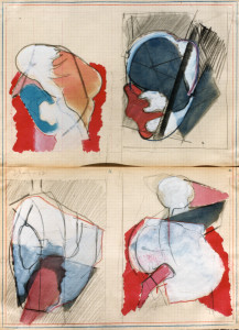 Quattro compressioni, 1967, matita acquarello su carta, 42x31 cm