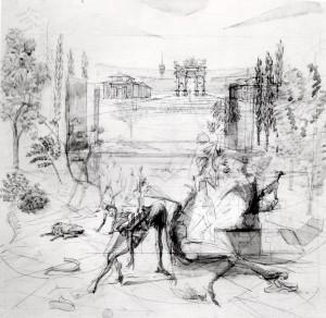 Studio per Parco Sempione, 1985, matita e acquarello su tela, 60x60 cm