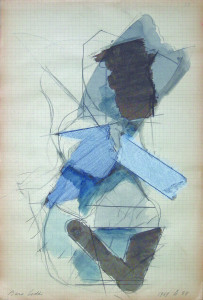 1969, matita e acquarello su carta 32x215 cm