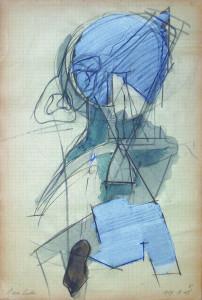 Figura incastrata 1969 matita e acquarello su carta 32x215 cm
