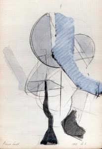 Sovrapposizione, 1969, matita e acquarello su carta, 32x21,5 cm