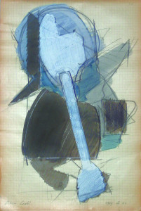 Testa I 1969 matita e acquarello su carta 32x215 cm