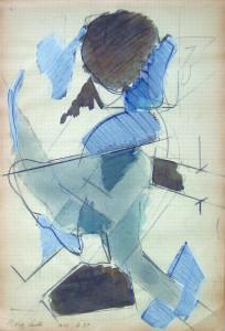 Testa II, 1969, matita e acquarello su carta 32x215 cm