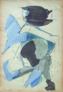 Testa III, 1969, matita e acquarello su carta 32x215 cm