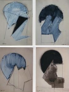 Quattro strutture, 1970, matita e inchiostro su carta, 18x12 cm