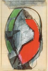 Funzione, 1970, tempera su carta, 28x19 cm