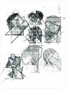 Studio di teste, 1970, acquaforte, 22x17 cm