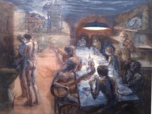 Cena in drogheria, 1985, olio su tela, 165x204 cm