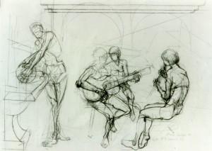Concerto, 1984, matita su carta, 38x55 cm