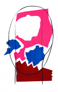 Testa scarlatta, 1967, punta secca e intaglio a colori, 52x33 cm