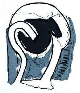 Testa grigia, 1967, puntasecca e intaglio a colori, 47x32 cm