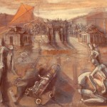 Parco Sempione, 1987, olio su tela, 54x80 cm