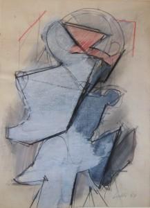 Figura, 1968, matita e acquarello su carta, 29x22 cm