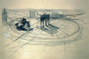 Piazza Sempione, 1988, matita e acquarello su carta, 30x44 cm